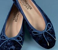 Ladies Velvet Flats in Royal Blue