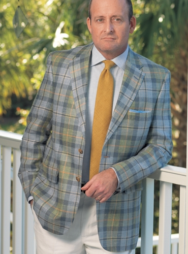 Blue and Green Plaid Sport Coat with Saffron Windowpane