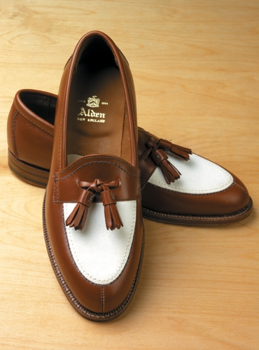 Tan & White Summer Tassel Loafer