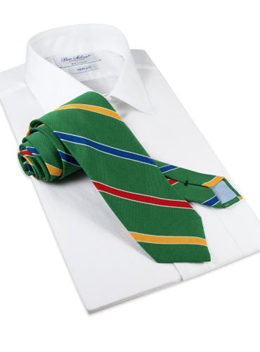 Silk Multi-Stripe Tie in Kelly Green