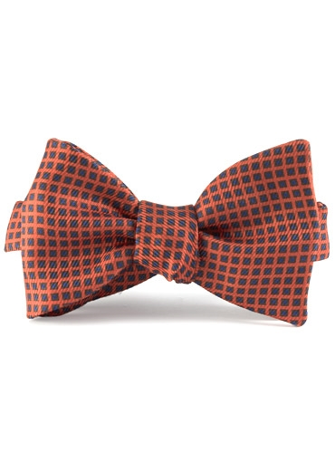 Silk Print Bow with a Square Motif in Chili