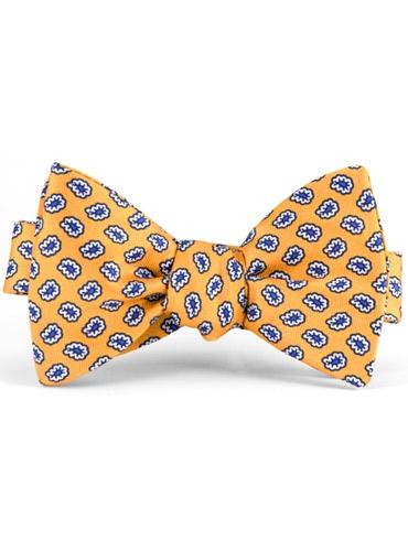Silk Print Small Paisley Motif Bow Tie in Marigold