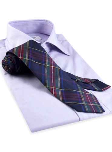 Silk Woven Plaid Tie in Navy