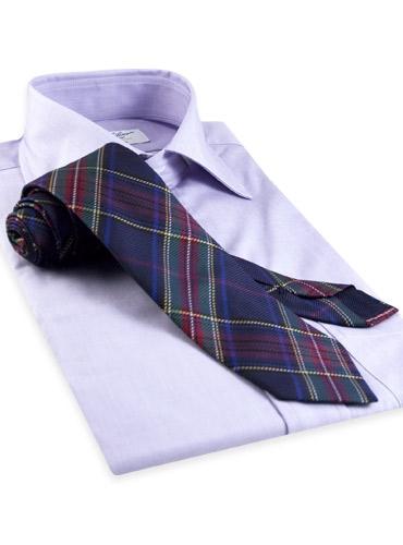 Silk Woven Plaid Tie in Navy
