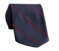 Silk Stripe Tie in Navy