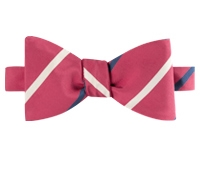 Mogador Double Striped Bow Tie in Azalea