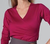Marie Meunier Cache Coeur Jersey Wrap Top in Fuchsia