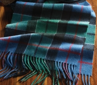 Cashmere Modern Tartan Scarf in Cornflower and Teal with Red Windowpane
