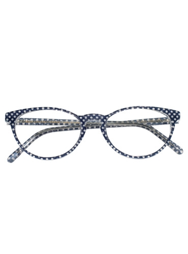 Oval Butterfly Frame in Navy and White Polka Dot