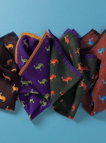 Wool and Silk Hare Motif Pocket Square