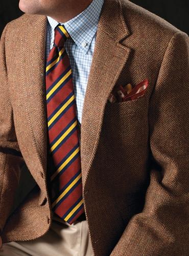 Russet And Wheat Herringbone Harris Tweed Sport Coat