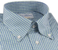 Green and Blue Check Button Down