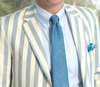 Sky Blue and Cream Block Stripe Sport Coat