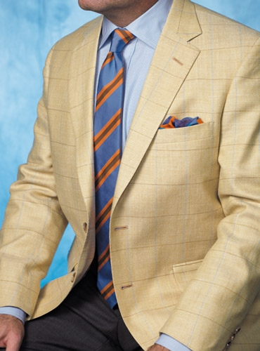Golden Sport Coat with Windowpane in Cobalt and Straw