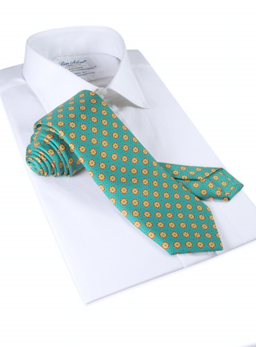 Silk Neat Print Tie in Teal