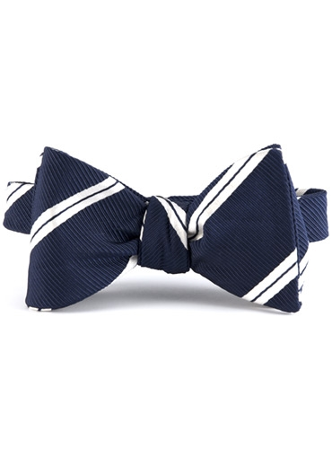 Mogador Silk Double Stripe Bow in Navy with White