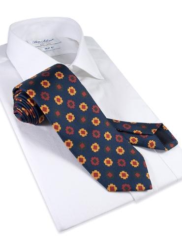 Silk Geometric Motif Tie in Navy