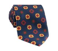 Silk Geometric Motif Tie in Navy