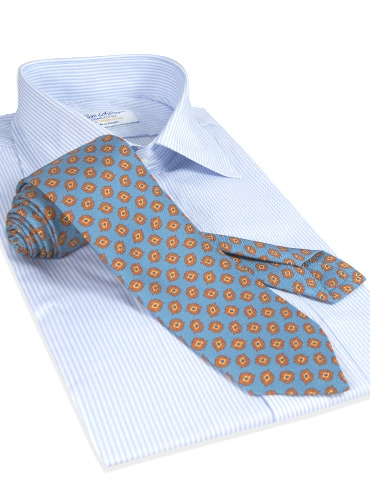 Diamond Printed Panama Silk Tie in Cobalt