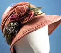 Ladies Wool Herringbone Hat in Rose with Floral Embellishments
