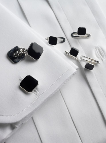 Sterling Silver Black Enameled Cufflinks and Stud Set