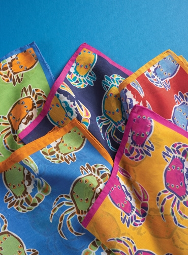 Silk and Cotton Pocket Square with Fanciful Crabs