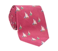 Jacquard Woven Sailboat Tie in Rose