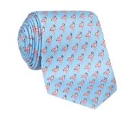Flamingo Printed Tie in Sky