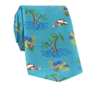 Silk Print Luau Tie in Teal