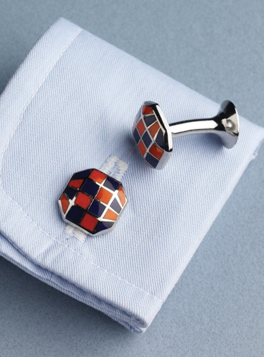Raised Octagon-shaped Cufflinks in Orange and Navy Checkerboard