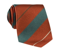 Silk Multi-Stripe Tie in Henna and Teal