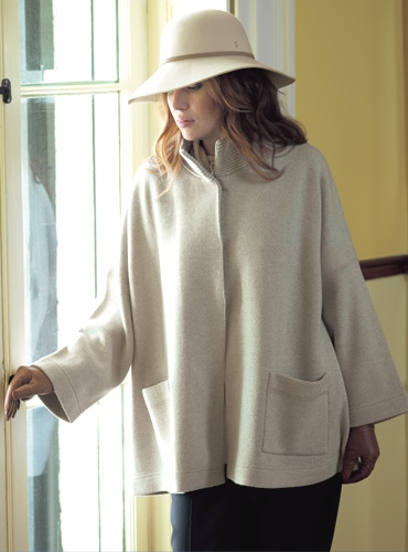 Ladies Cashmere Herringbone Jacket in Linen