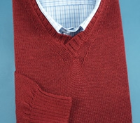 Alpaca and Silk V-neck Sweater in Cranberry