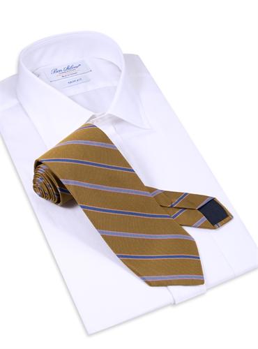 Silk Woven Multi-Stripe Tie in Cinnamon