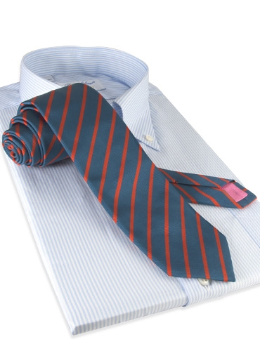 Mogador Bar Stripe Tie in Teal