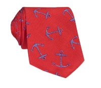 Silk Woven Anchor Tie in Tangerine