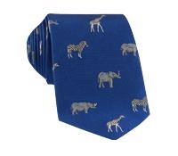 Jacquard Woven Animal Motif Tie in Royal