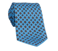 Silk Printed Tie With Flower and Diamond Motif in Cobalt