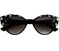 Cateye Sunglasses in Black with Grey Dots