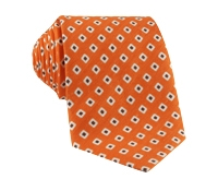 Silk and Linen Square Motif Printed Tie in Tangerine