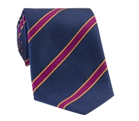 Silk Stripe Tie in Navy and Fuchsia