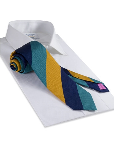 Silk Block Stripe Tie in Teal, Saffron, and Navy