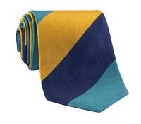 Silk Block Stripe Tie in Teal, Saffron, and Navy