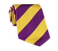 Silk Woven Block Stripe Tie in Gold and Purple