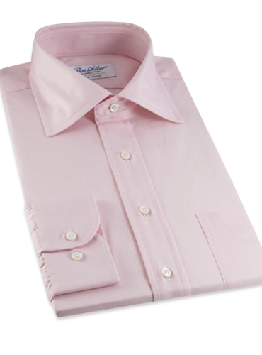 Classic Pink Twill Spread Collar