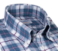 Blue, Strawberry and White Linen Button Down