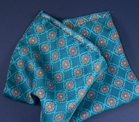 Silk Medallion Print Pocket Square in Teal