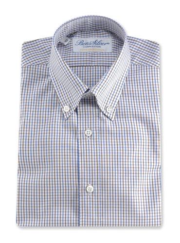 Boys Shirt Blue/Brown Tattersall Buttondown