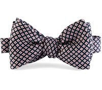 Silk Print Small Flower Bow in Navy with Red