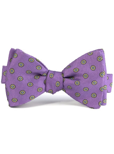Silk Print Bow with an Octagon Motif in Violet